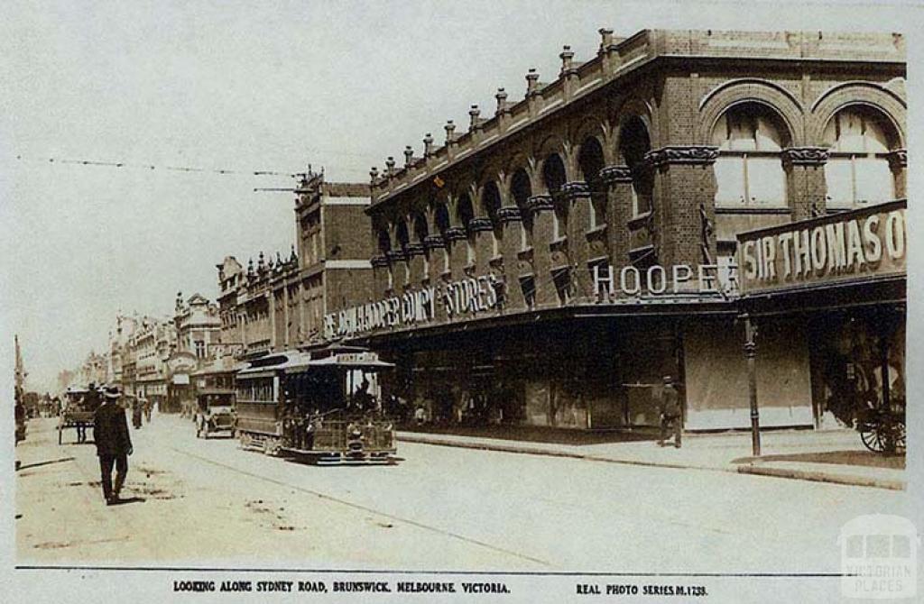 Looking along Sydney Road, Brunswick, c1920