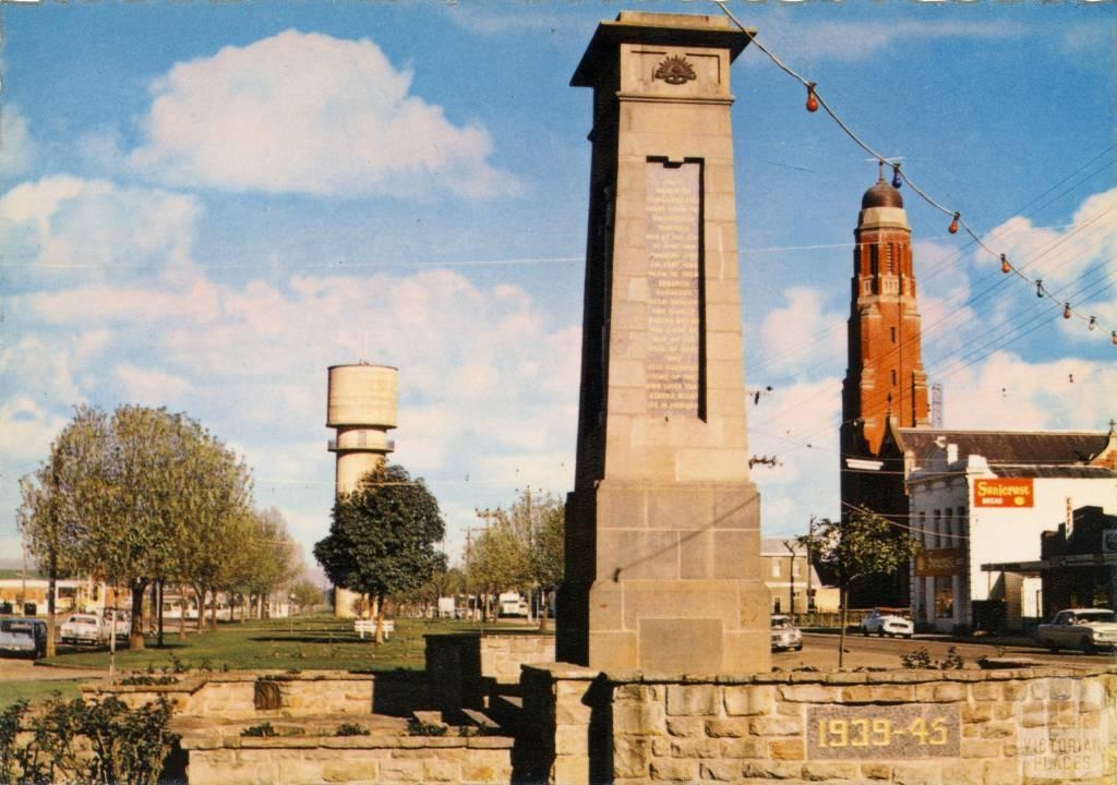 The Cenotaph, Water Tower, and St Mary's Spire, Bairnsdale