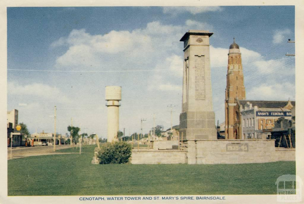 Cenotaph, Water Tower and St Mary's Spire, Bairnsdale