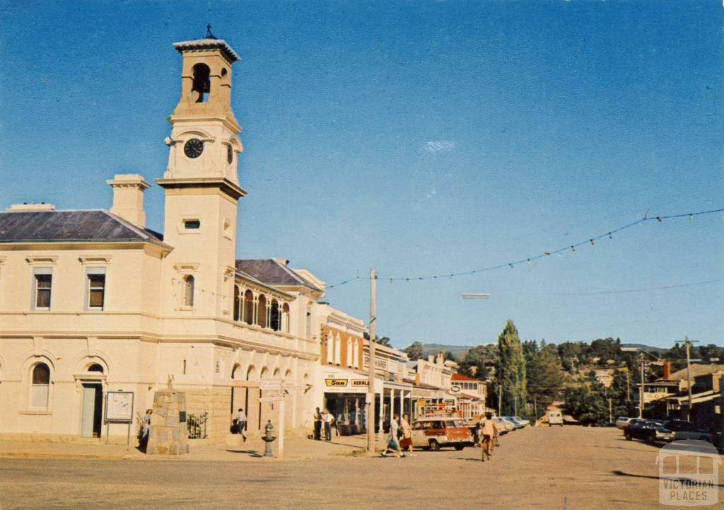 Camp Street and the Post Office with its historic clock tower, Beechworth