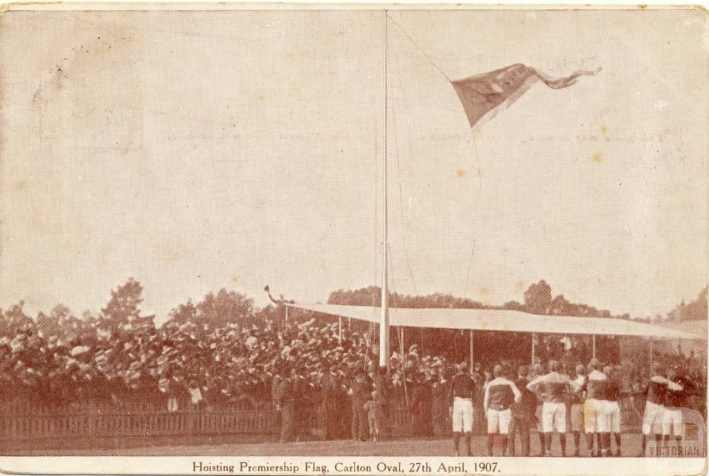 Hoisting Premiership Flag, Carlton Oval, 1907