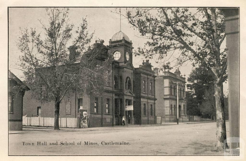 Town Hall and School of Mines, Castlemaine, 1915