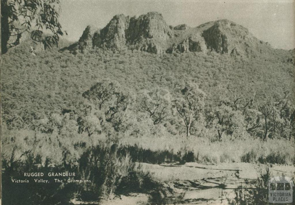 Rugged grandeur, Victoria Valley, The Grampians, 1954