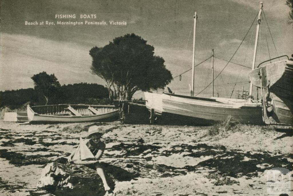 Fishing boats, beach at Rye, Mornington Peninsula, 1954