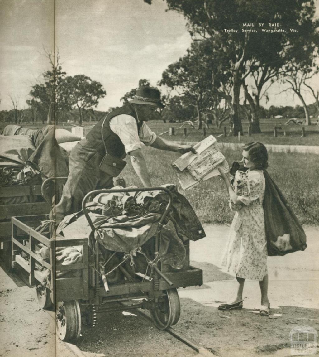 Mail by rail, trolley service, Wangaratta, 1954