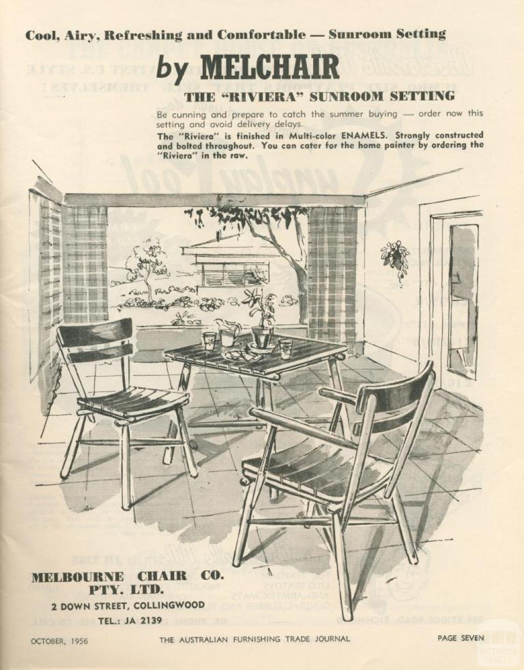 Melbourne Chair Company, Collingwood, 1956