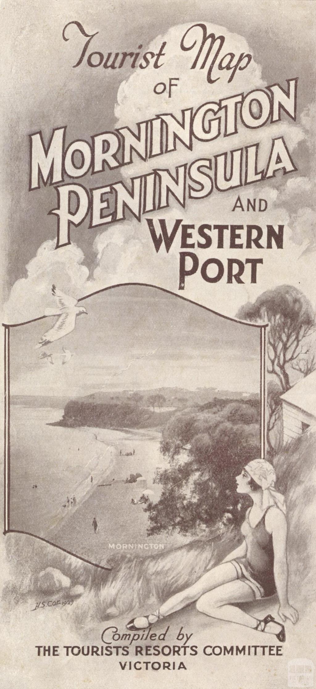 Tourist Map of Mornington Peninsula and Western Port, 1929