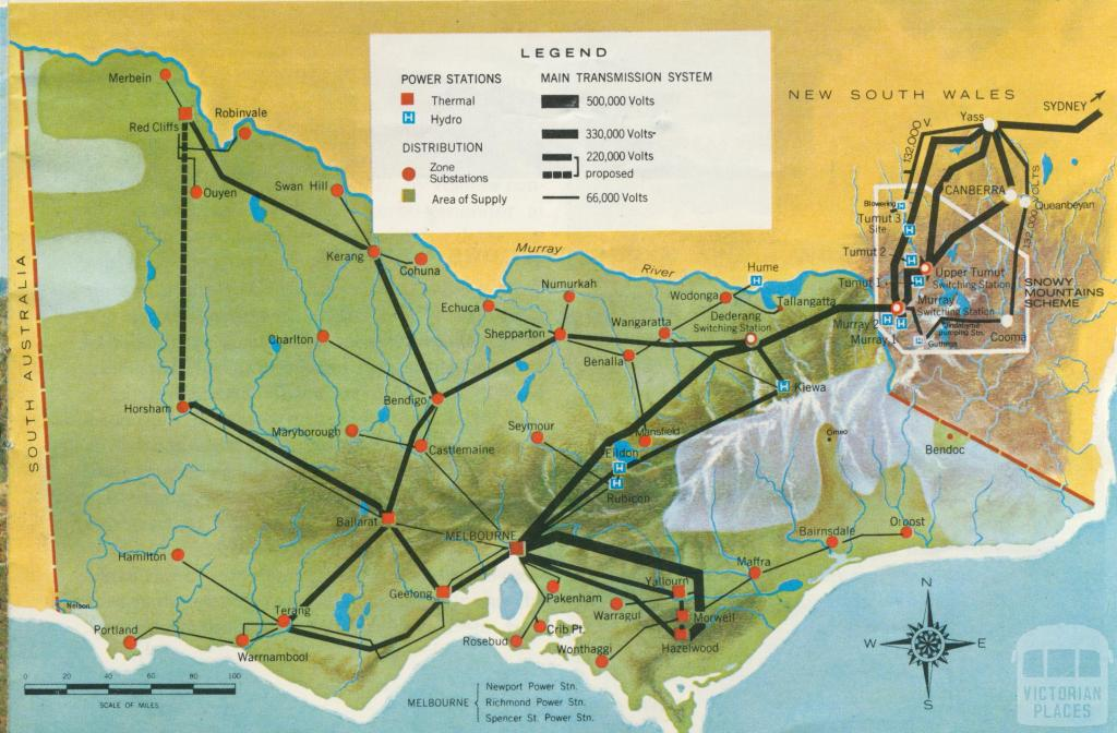 Map of the Victorian electricity supply system, 1971