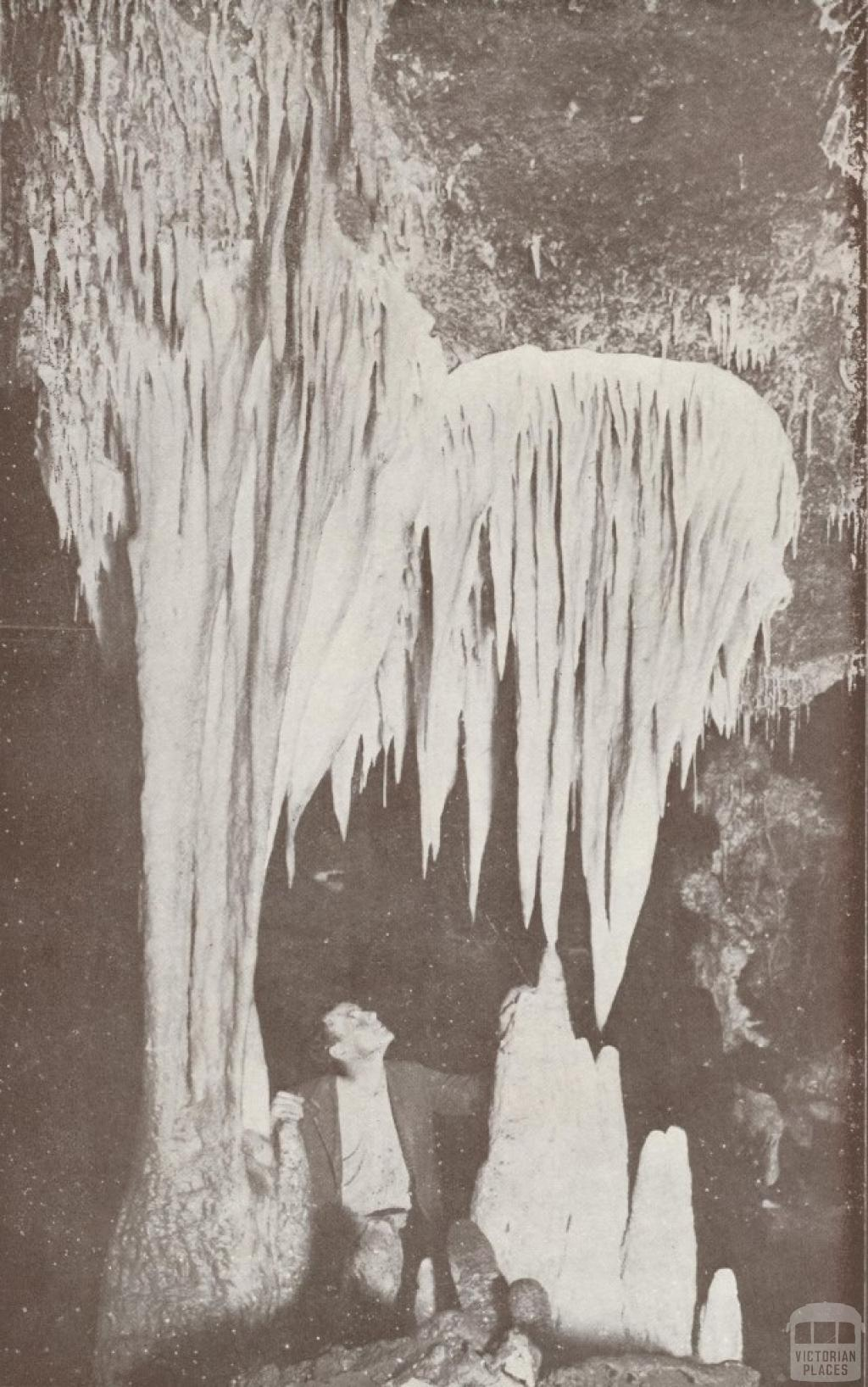 Giant White Stalactites and Stalagmites in the Fairy Cave, Buchan, 1934