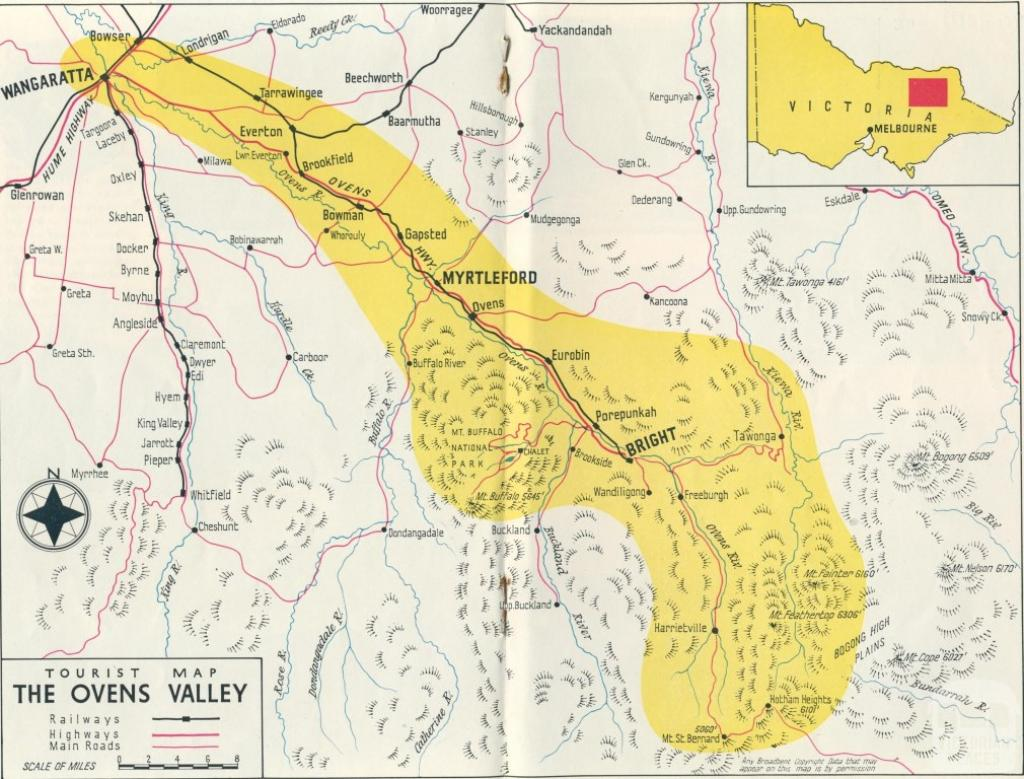 Map of the Ovens Valley, 1951
