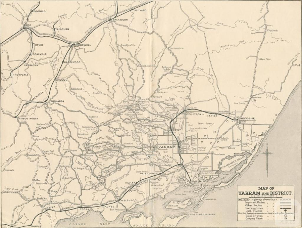 Map of Yarram and District, 1947