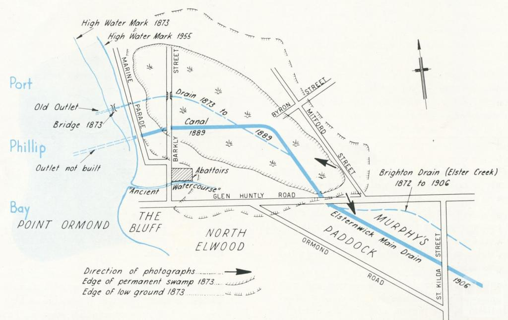 Plan of early Elwood, 1955