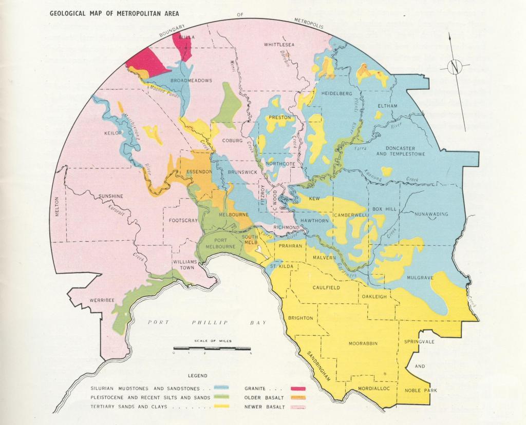 Geological Map of Melbourne Metropolitan area, 1956