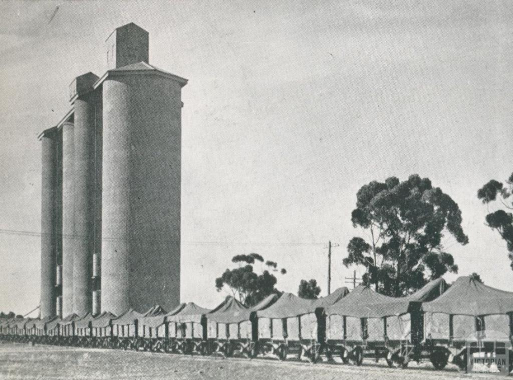 Wheat train passing the silos at Donald, 1955