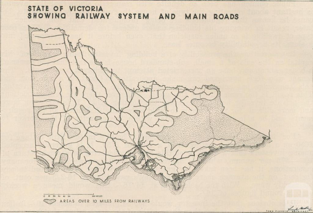 Victorian Railway System and Main Roads, 1944