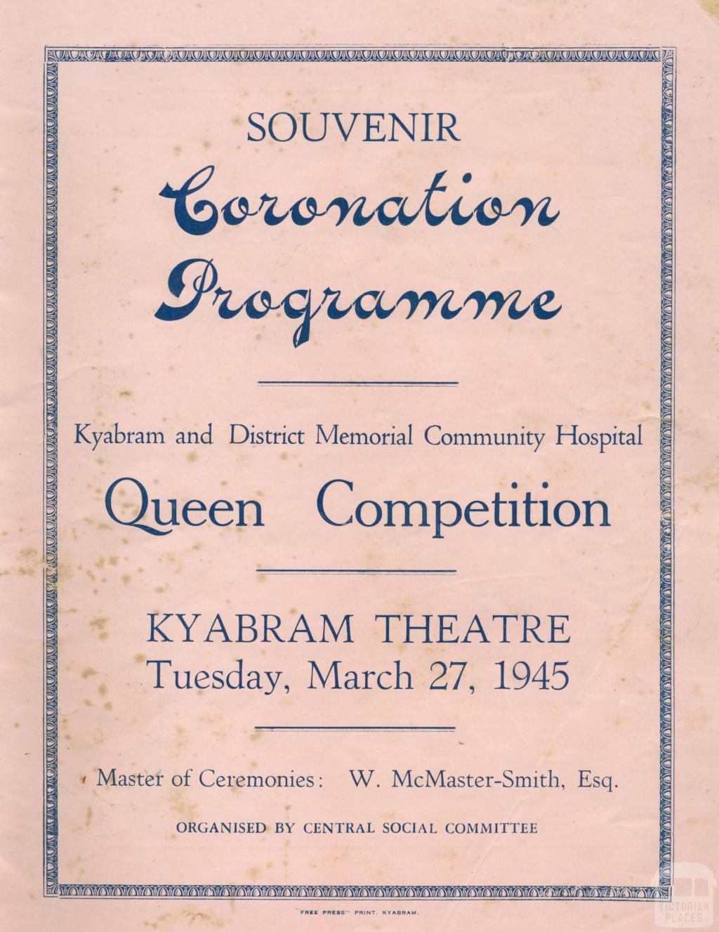 Cover, Kyabram and District Memorial Community Hospital, Souvenir Coronation Programme, 1945