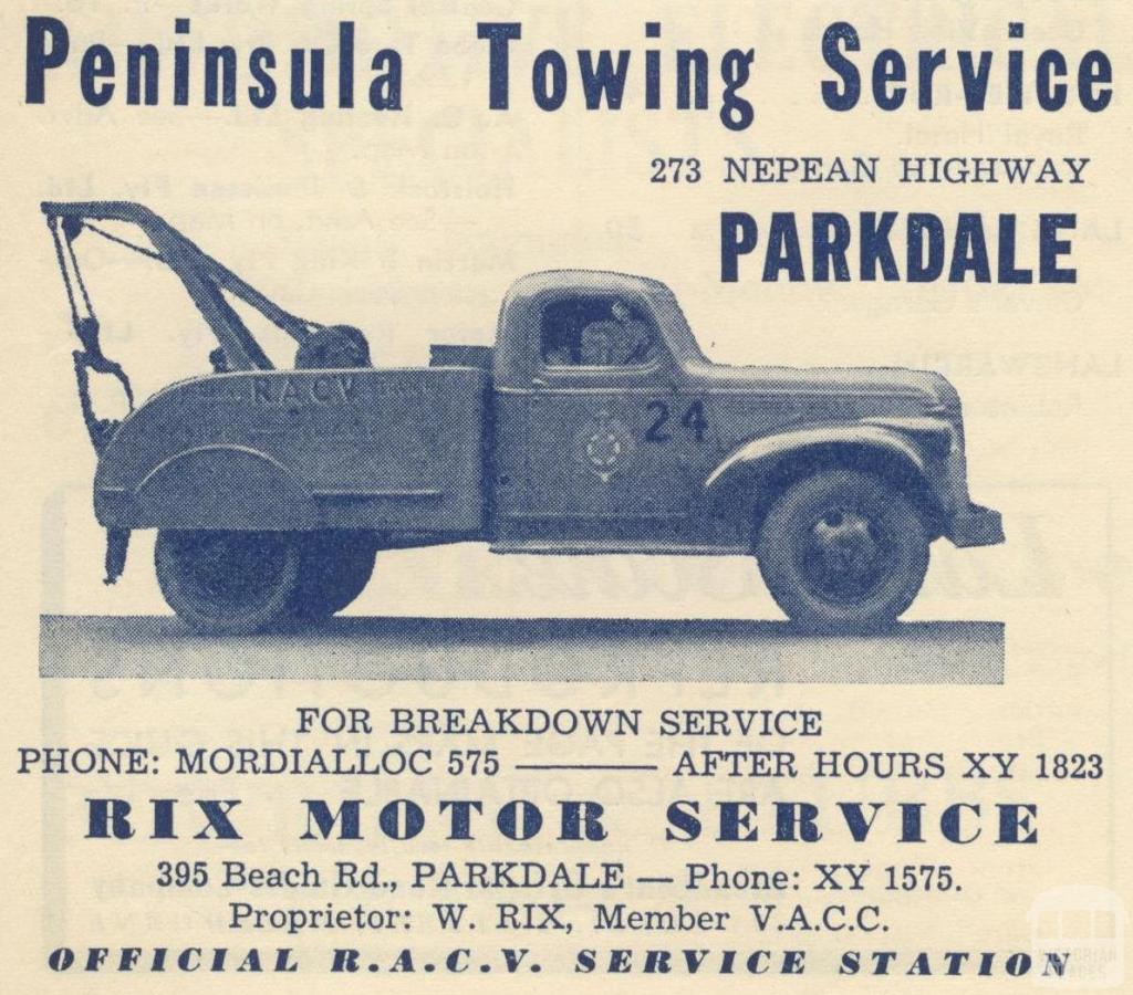 Peninsula Towing Service, Parkdale, 1949