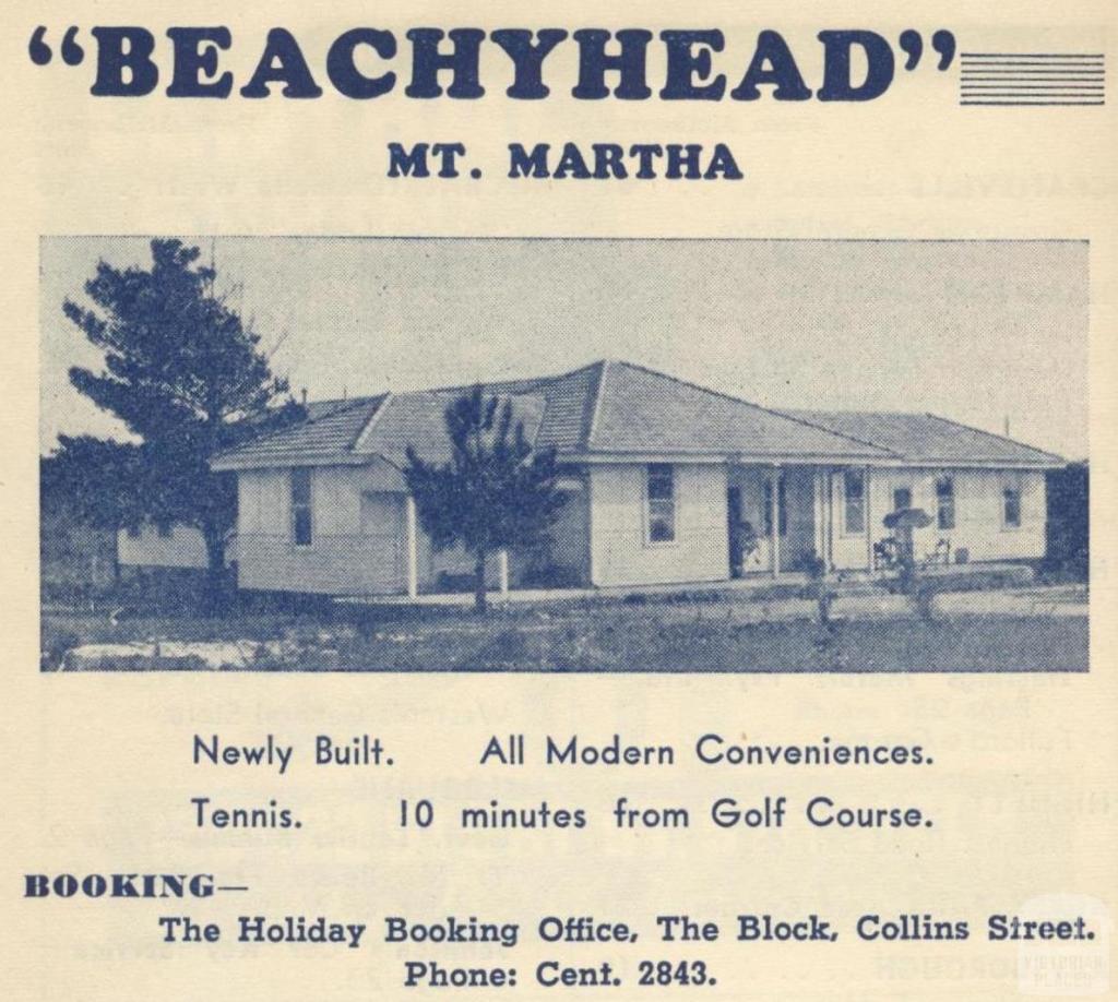 Beachyhead, Mount Martha, 1949