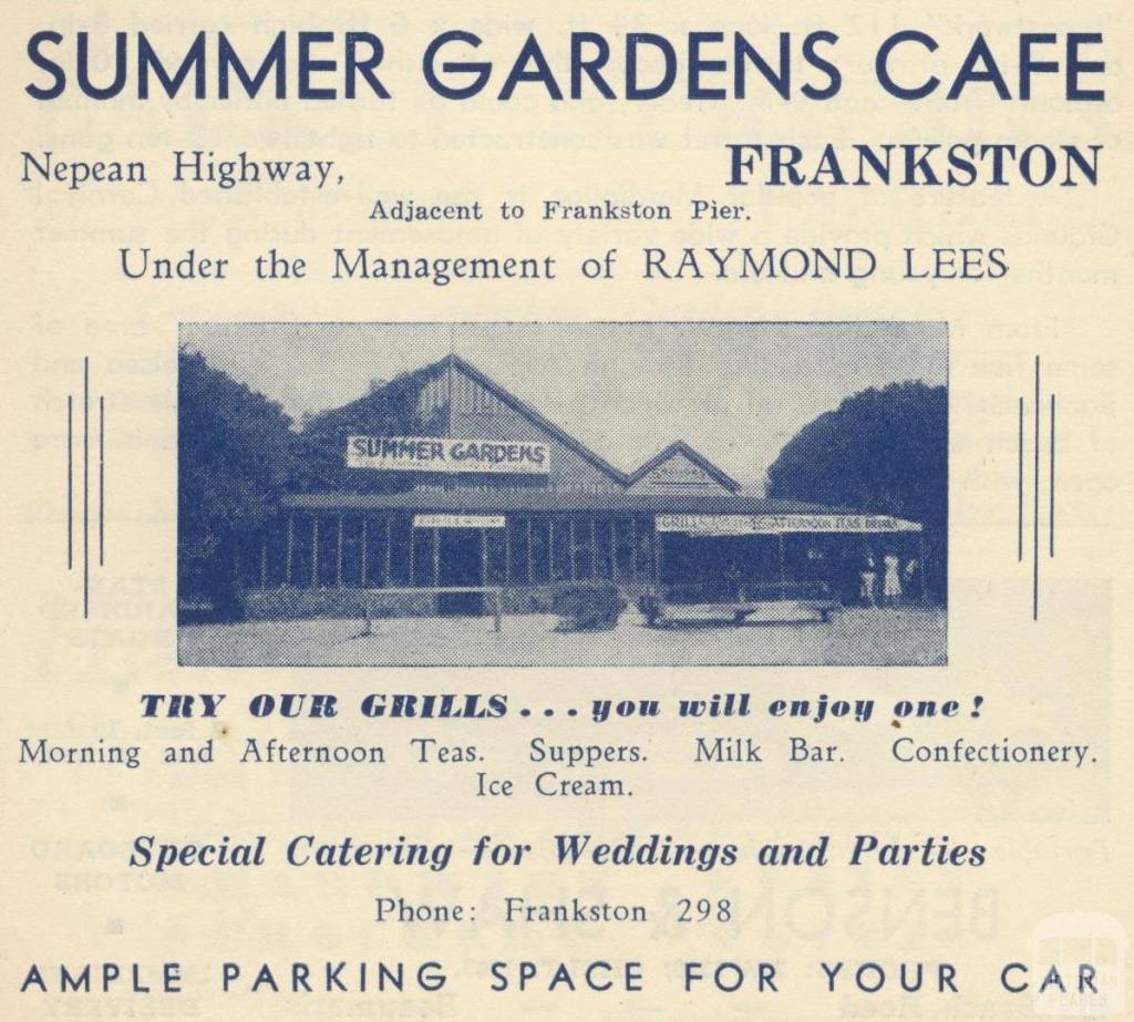 Summer Gardens Café, Frankston, 1949