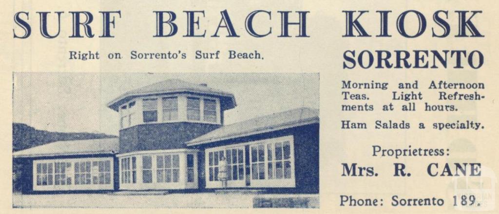 Surf Beach Kiosk, Sorrento, 1949
