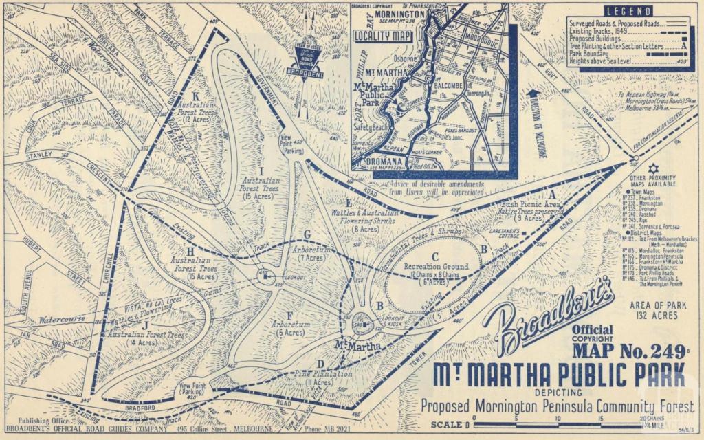 Map Mount Martha Public Park, 1949