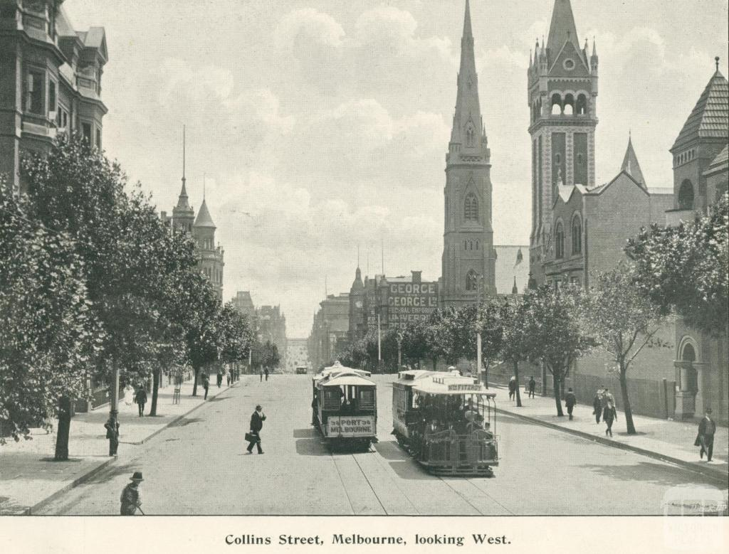 Collins Street, Melbourne, looking west, 1900