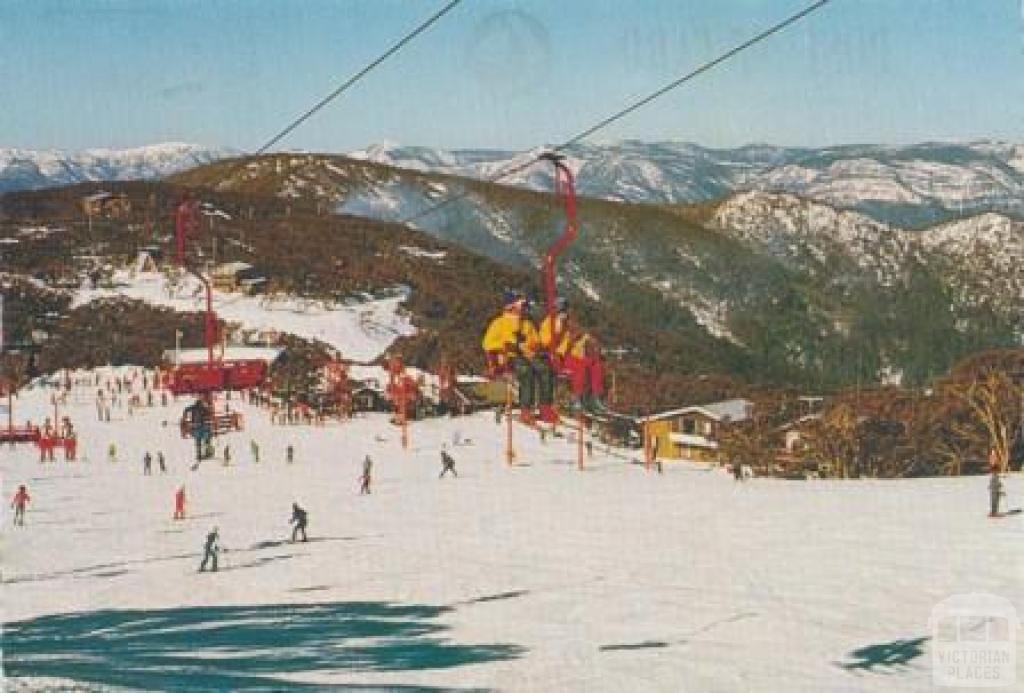 Chairlift and Bourke Street ski run, Mount Buller