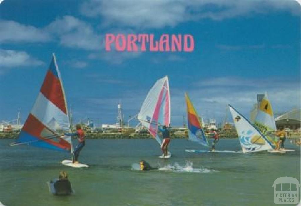 Sailboarding at Portland Town Beach