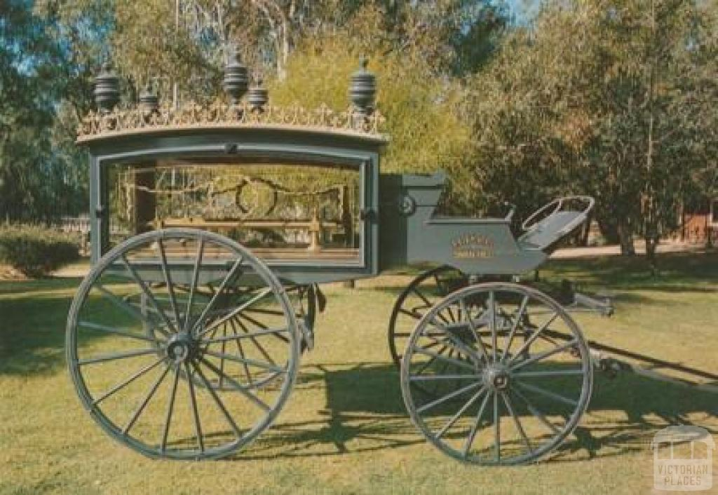 Swan Hill, Horse-drawn Hearse, Pioneer Settlement. Made in England in 1900 and operated at Nagambie and Castlemaine