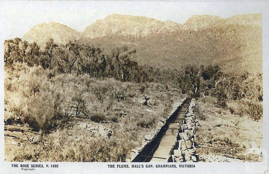 The Flume, Hall's Gap, The Grampians, c1920. Part of the water supply to Stawell