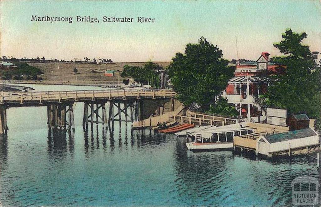 Maribyrnong Bridge, Saltwater River showing Anglers Hotel, Mooney Ponds c1910