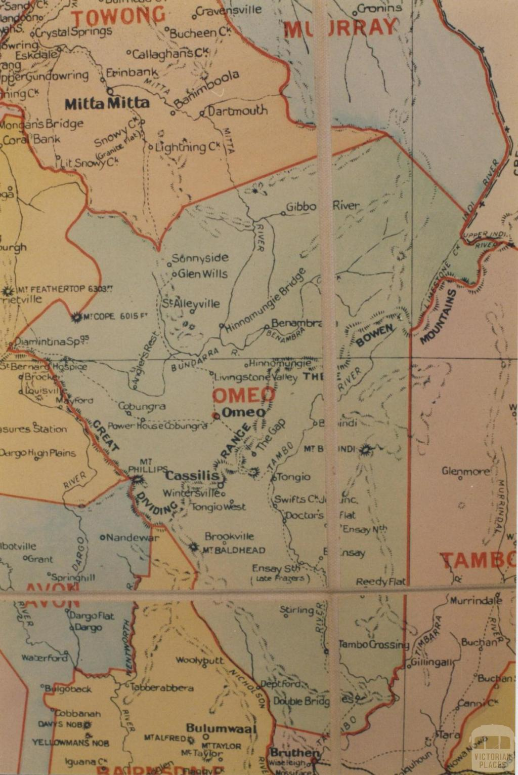 Omeo shire map, 1924
