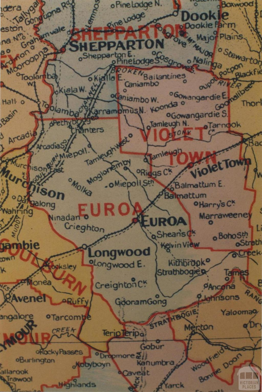 Euroa shire map, 1924