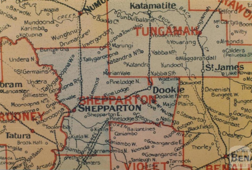 Shepparton shire map, 1924