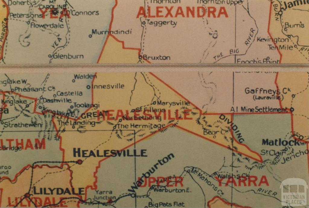 Healesville shire map, 1924