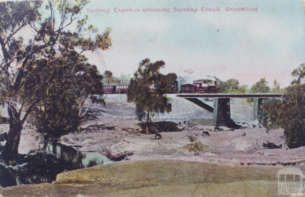 Sydney Express crossing Sunday Creek, Broadford, 1907