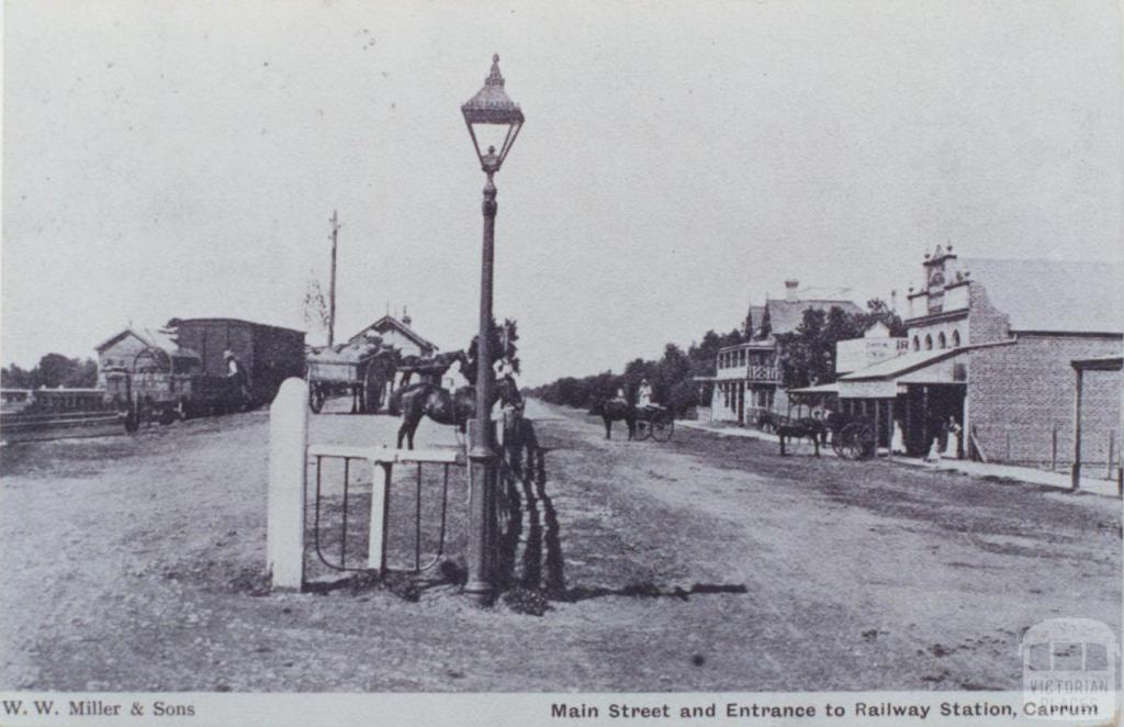 Main Street and Entrance to Railway Station, Carrum, 1907