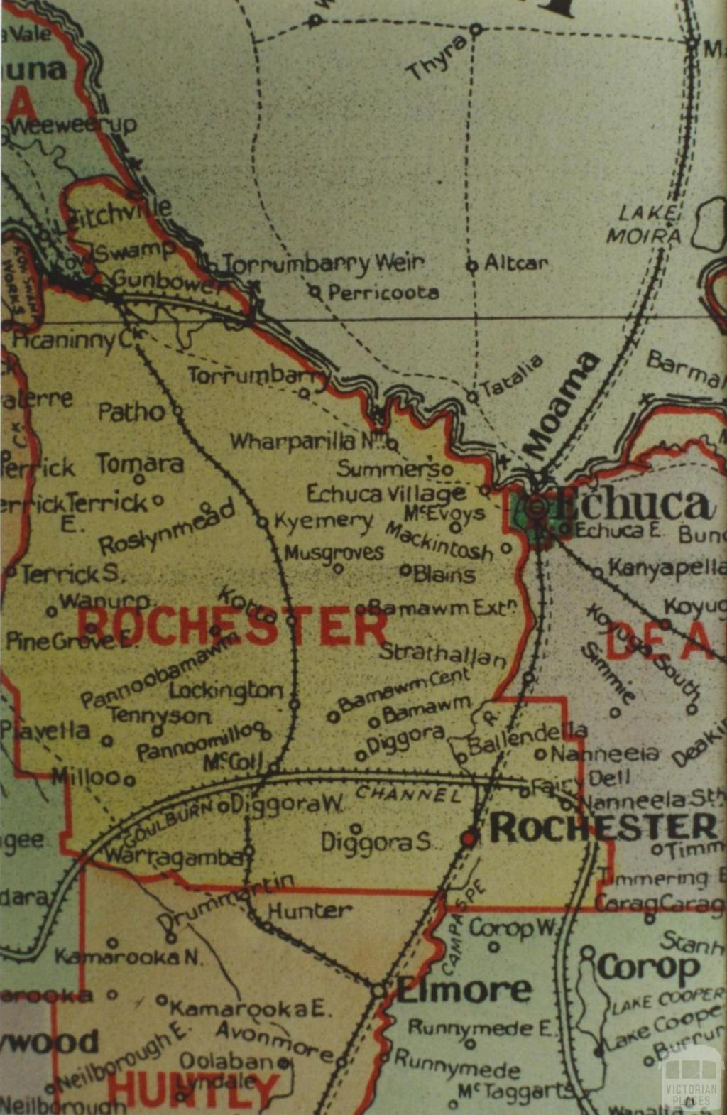 Rochester shire map, 1924