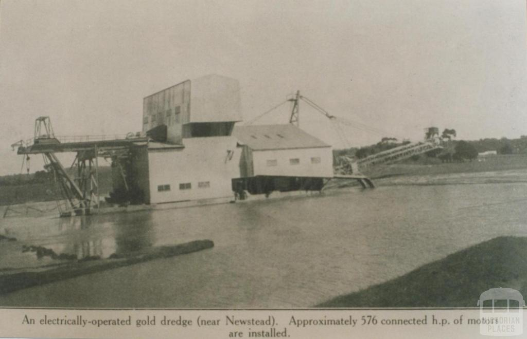 Electrically operated gold dredge near Newstead, 1938