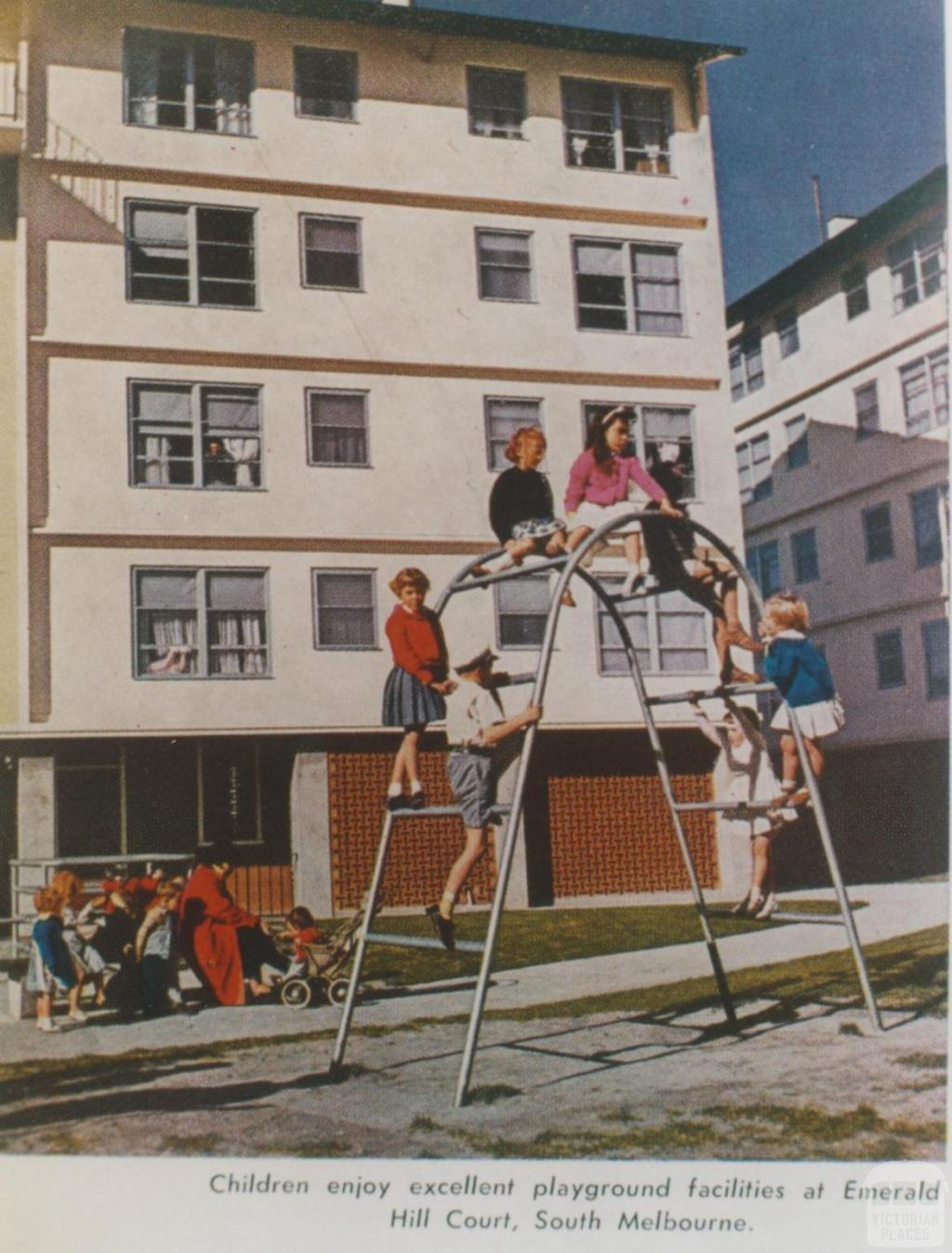 Children playing at Emerald Hill Court, South Melbourne, 1961