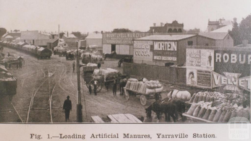 Loading artificial manure, Yarraville station, 1913