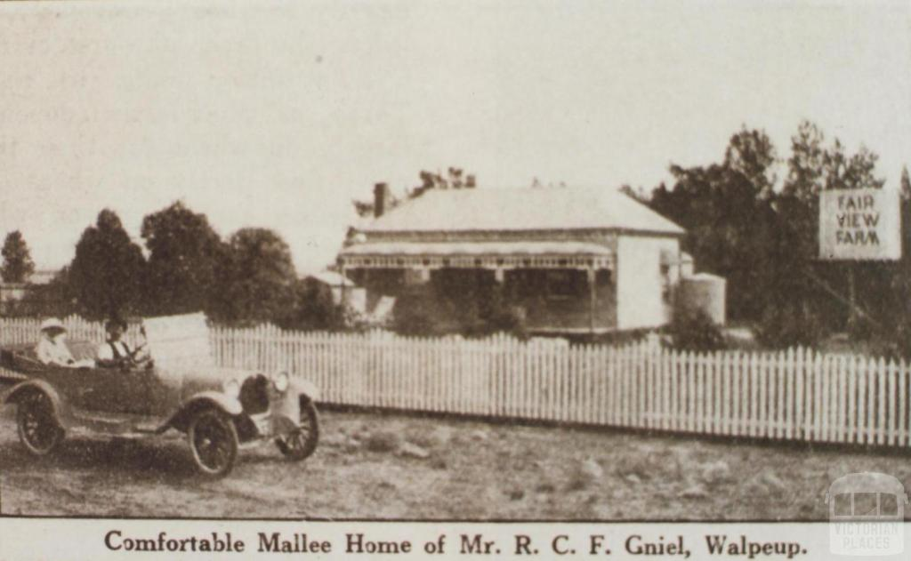 Mr Gniel's home, Walpeup, 1921