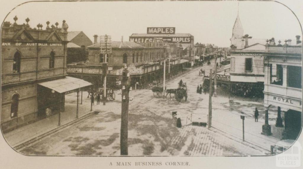 A main business corner, Footscray, 1917