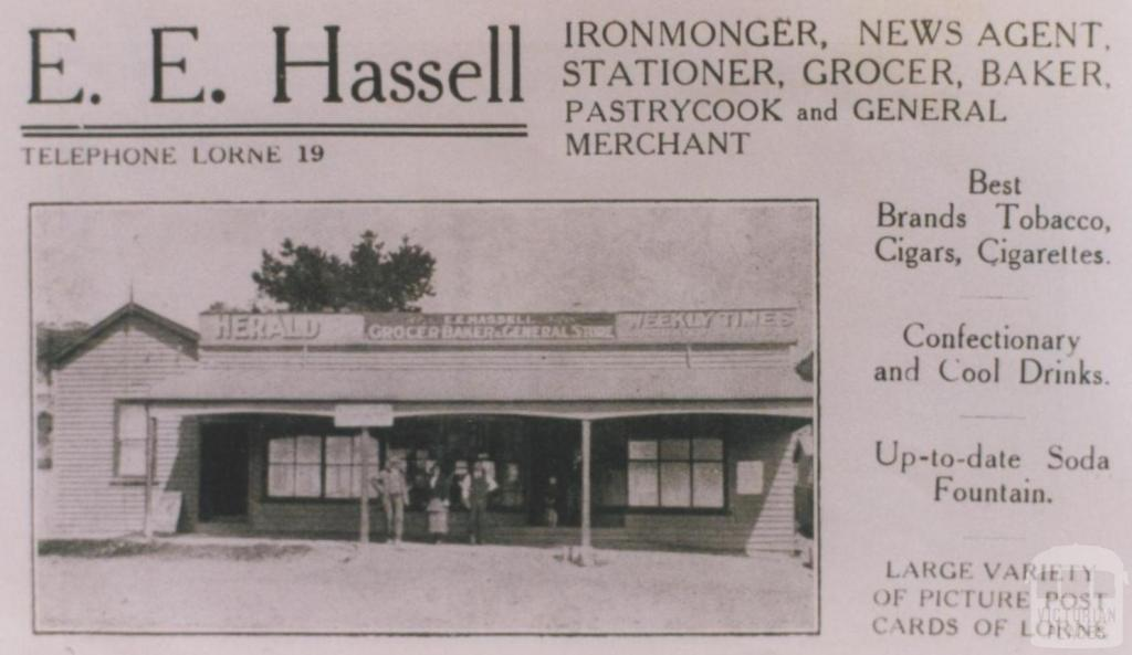 Advertisement, E.E. Hassell Ironmonger, Lorne, 1920
