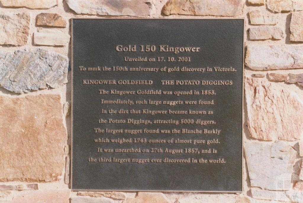 Plaque commemorating 150th anniversary of gold discovery in Victoria, Kingower, 2010