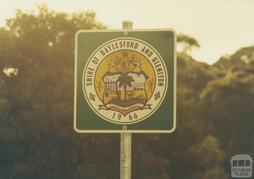 Roadside sign Daylesford and Glenlyon Shire, 1980