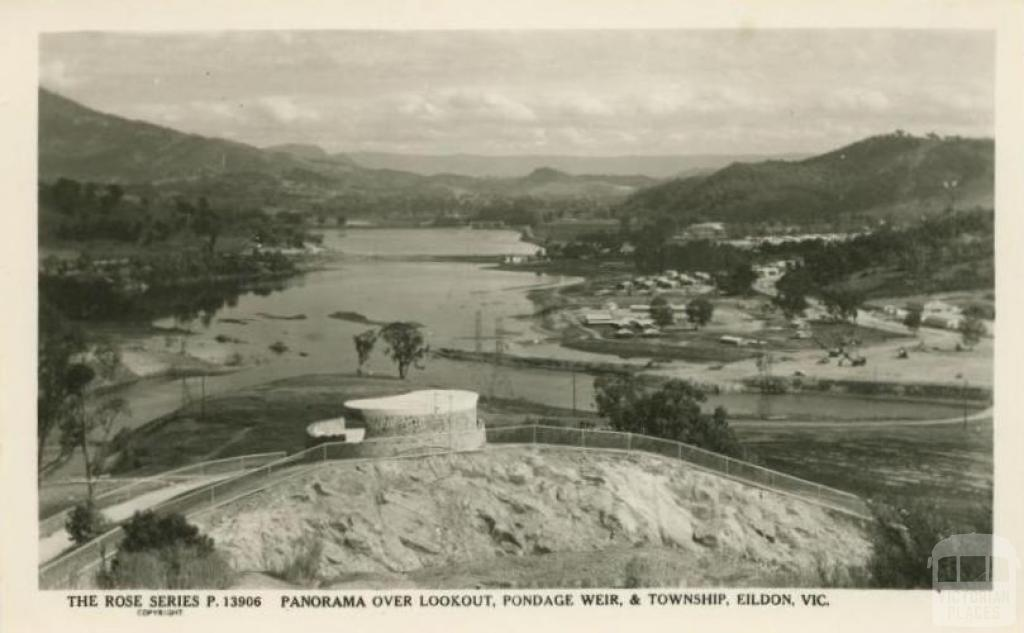 Panorama over Lookout, Pondage Weir and Township, Eildon