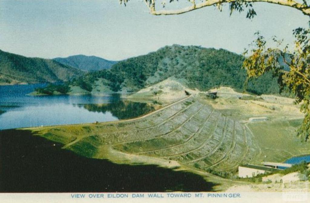 View over Eildon Dam Wall, toward Mt Pinniger