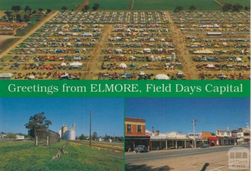 Aerial view field day, silos, main street, Elmore, 1992