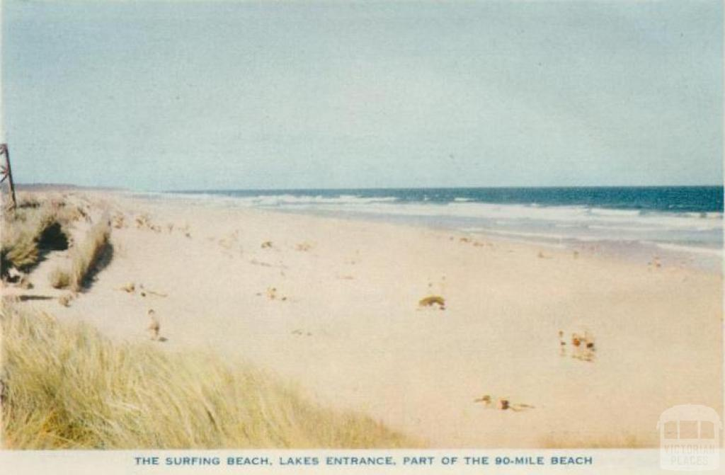 The surfing beach, Lakes Entrance, part of the 90-mile beach, 1955